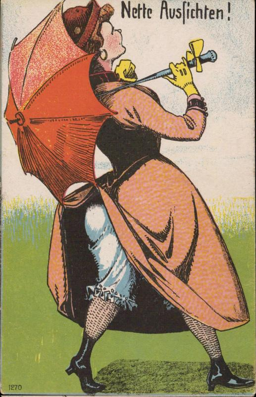 Comic woman epoque umbrella Nette Ausfichten