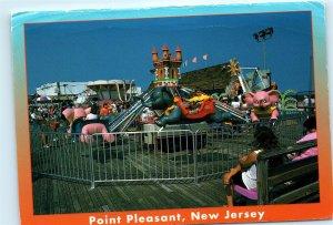 Point Pleasant Beach NJ Amusement Park Rides Vintage 4x6 Postcard E08