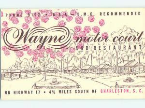 Unused 1950's WAYNE MOTOR COURT MOTEL & RESTAURANT Charleston SC u7486-22