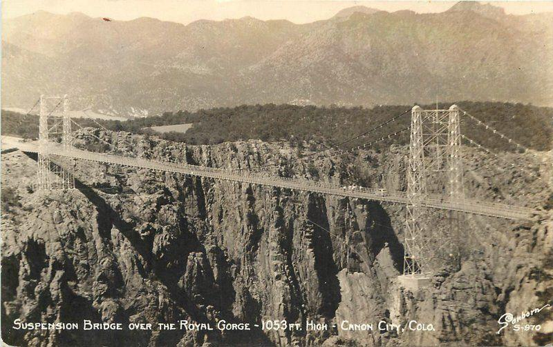 CANON CITY COLORADO Suspension Bridge Royal Gorge Sanborn RPPC 4410