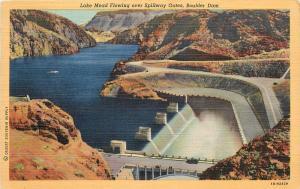Lake Mead Flowing Over Spilling Gates Boulder Dam Nevada Postcard