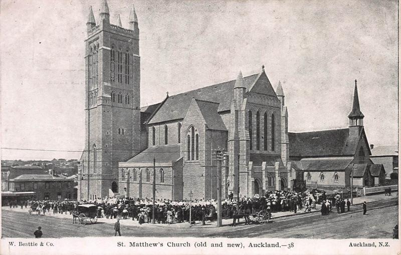 St. Matthew's Church, Old and New, Auckland, New Zealand, Early Postcard, Unused