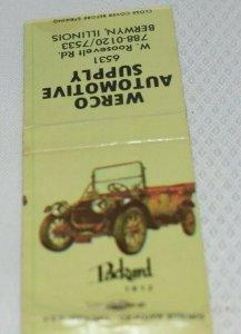 Packard 1912 Werco Automotive Supply Berwyn Illinois 20 Strike Matchbook Cover