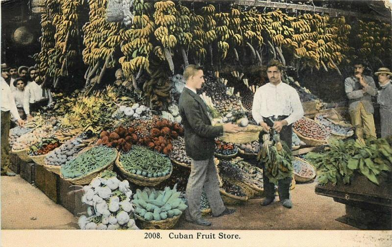c1910 Postcard Havana Cuba, Cuban Fruit Store Tropical Carribean unposted