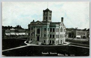 Albia Iowa~Shops Around Courthouse Square~Cubes Clocktower~CU WIlliams~c1910 PC