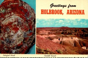 Arizona Greetings From Holbrook With Painted Desert and Petrified Wood