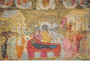 Serbian Frescoes Monastery Church at Sopocani, Fresco of the Dromition
