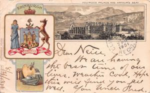Holyrood Palace and Arthur's Seat, Scotland, Early Postcard, Used in 1901