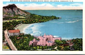 Hawaii Honolulu Birds Eye View Showing Famous Waikiki Beach and Hotels