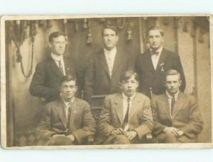 Pre-1918 rppc YOUNG MEN Back Marked As El Dorado By Newton & Wichita KS i9299