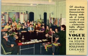 1930s Chicago Advertising Postcard VOGUE SCHOOL OF FASHION Unused Curteich Linen