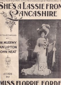 She's A Lassie From Lancashire Miss Florrie Forde Olde Folded Sheet Music