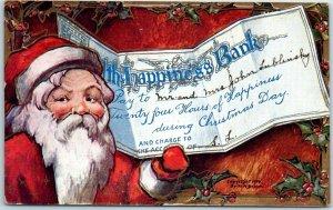 Vintage Christmas SANTA CLAUS Postcard The Happiness Bank Giant Check - 1908