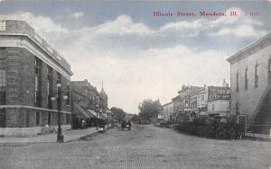 Mendota IL~Illinois Street~Theatre~Meat Market~Vintage Autos~CR Childs 1912 PC
