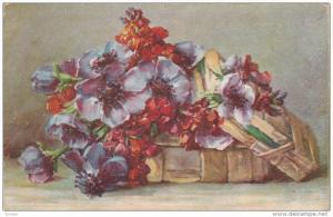 Still life: Purple and red flowers coming out of a wooden box, 00-10s