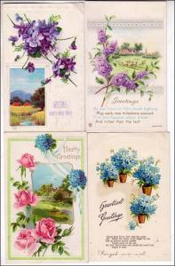 4 - Misc Greeting Cards with Flowers