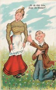 Comic couple caricature vintage humour postcard lovers caricatures lover flower