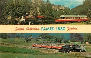 South Dakota~Two 1880 Trains: Passenger, Miniature~1960s Postcard