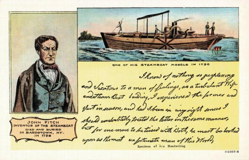 Postcard John Fitch Bardstown Kentucky