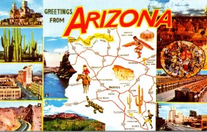 Map Of Arizona With Greetings and Multi Views
