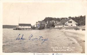 Onekama MI Grandma, I Learned to Float~Caught 2 Rock Bass~Lake Portage RPPC 1936