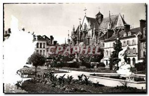 Old Postcard Troyes Aube Church St Urbain the Prefecture Park
