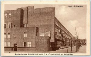 AMSTERDAM Netherlands Holland Postcard Street Scene J.M. Coenenstraat unused
