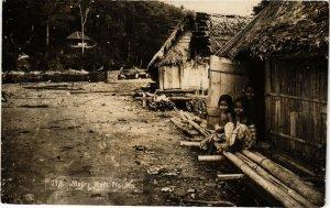 PC CPA MALAYSIA, MALAY RAFT HOUSE, VINTAGE REAL PHOTO POSTCARD (b4075)