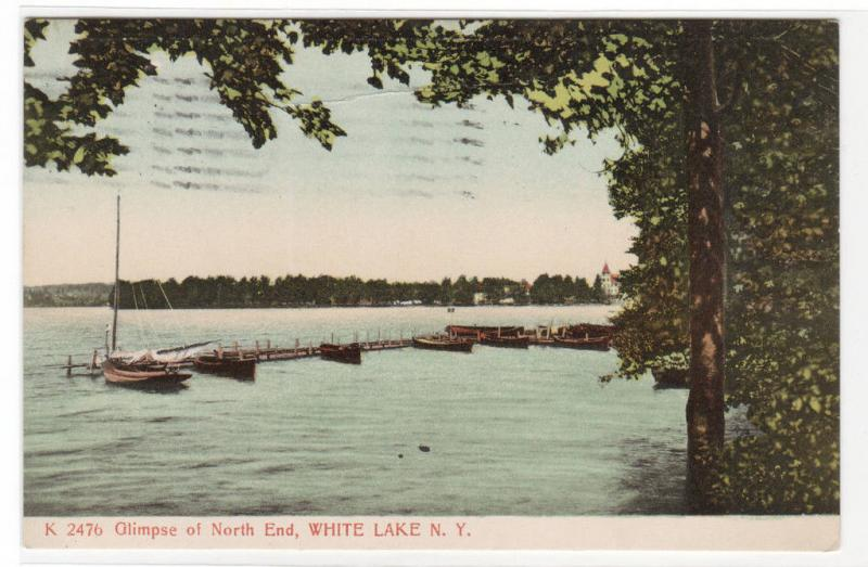 Boats North End White Lake New York 1907 postcard