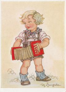 Little Girl playing an accordion, 1900-10s; AS; Tilly v. Baumgarten-Haindl