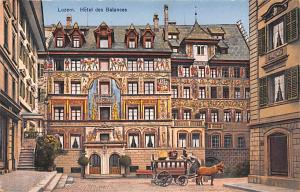 Switzerland Old Vintage Antique Post Card Luzern, Hotel des Balances Unused