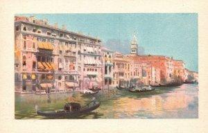 Vintage Postcard 1920's Venezia Canal Grande E Alberghi Grand Canal & Hotels