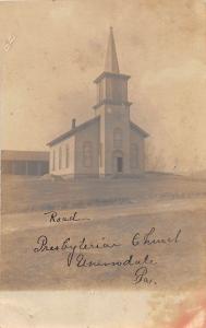D43/ Uniondale Pennsylvania Real Photo RPPC Postcard c1910 Presbyterian Church