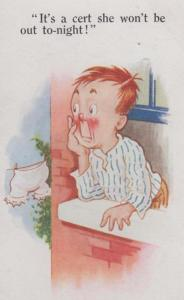 Man At Window Not Got Date French Knickers Bloomers Washing Line Comic Postcard