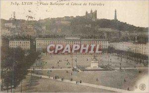 Old Postcard Lyon Bellecour Square and Coteau de Fourviere