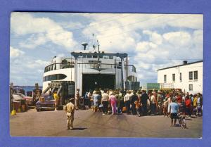 Woods Hole, MA/Mass Postcard, Island Ferry Boat, Cape Cod
