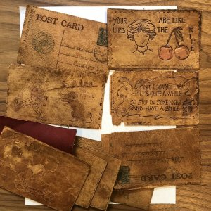 Antique lot of 12 Leather 1907 Postcards Drunks Love Funny Vintage Posted