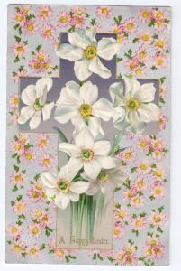 Vintage Easter Postcard Winsch Cross Embossed Narcissus Flowers Silver Gilt