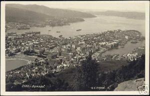 norway norge, BERGEN, Panorama (1932) RPPC