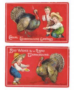 2 Clapsaddle Thanksgiving Postcards Boys Feeding Turkey Vintage Embossed