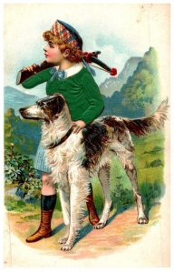 Dog , with Boy Hunting , crossbow