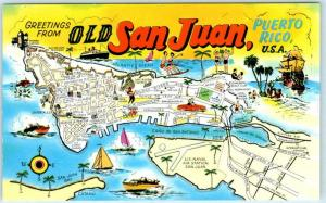 Greetings from OLD SAN JUAN, PUERTO RICO  Illustrated Map Postcard ca 1950s-60s