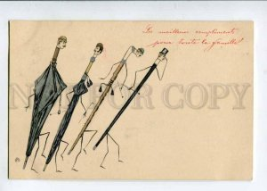 402666 UMBRELLA w/ Men's Heads Vintage Fantasy OPF Postcard