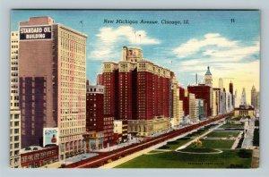 Chicago IL, New Michigan Avenue, Standard Oil Building, Linen Illinois Postcard