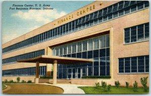 Fort Benjamin Harrison, Indiana Postcard FINANCE CENTER, U.S ARMY Linen 1940s