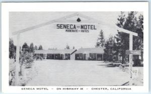 CHESTER, California  CA   Roadside SENECA MOTEL  ca 1940s Plumas County Postcard