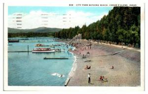 1936 City Park Bathing Beach and Water Slide, Couer d'Alene, ID Postcard *4V