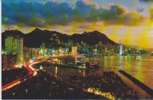 #100: Neon Night View of Hong Kong & Mountains, China