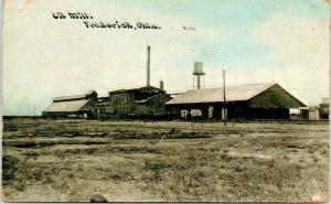 Frederick Oklahoma~Oil Mill~Long Buildings~Water Tower~c1910 CU Williams