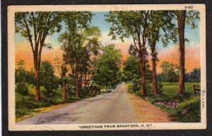 NH Greetings From BRADFORD NEW HAMPSHIRE Linen PC 1945